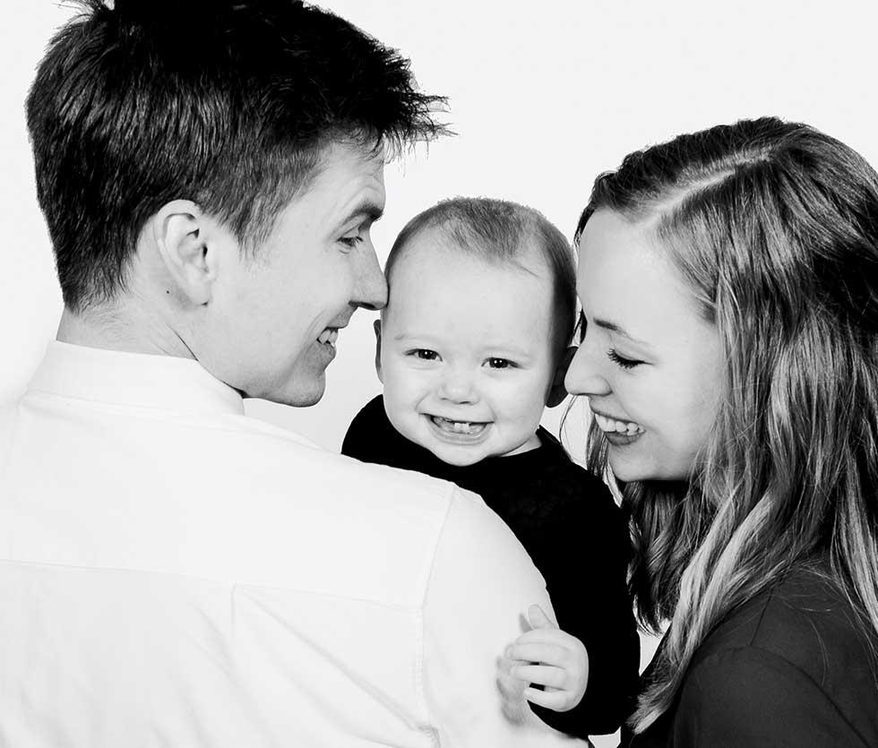 Portrætter af familien, børnene eller den lille ny
